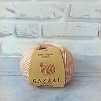 Пряжа Gazzal Organic Baby Cotton пудра №416 хлопковая для ручного вязания, летняя