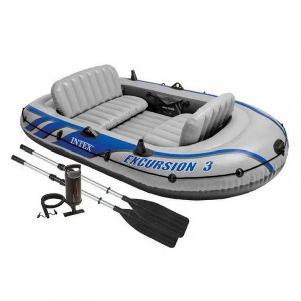 Трехместная надувная лодка Intex + алюминиевые весла и ручной насос Excursion 3 Set 262x157x42 cм (68319)