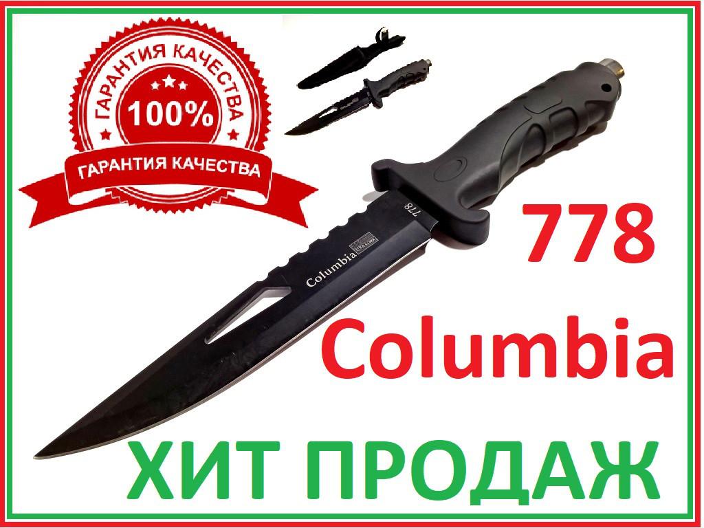 Нож охотничий в чехле фиксированный клинок матовый чёрный 778
