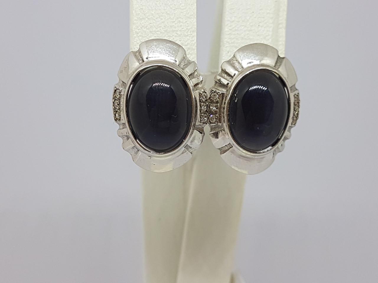 Срібні сережки Дороті з оніксом і фіанітами. Артикул 2861р