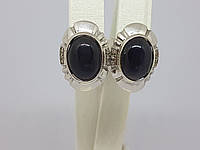 Срібні сережки Дороті з оніксом і фіанітами. Артикул 2861р, фото 1
