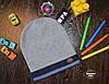 Демисезонная шапка для мальчика со значком Польша синяя полоска