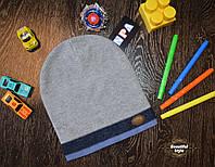 Демисезонная шапка для мальчика со значком Польша синяя полоска, фото 1
