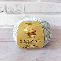 Пряжа Gazzal Organic Baby Cotton светло - голубой №417 хлопковая для ручного вязания, летняя