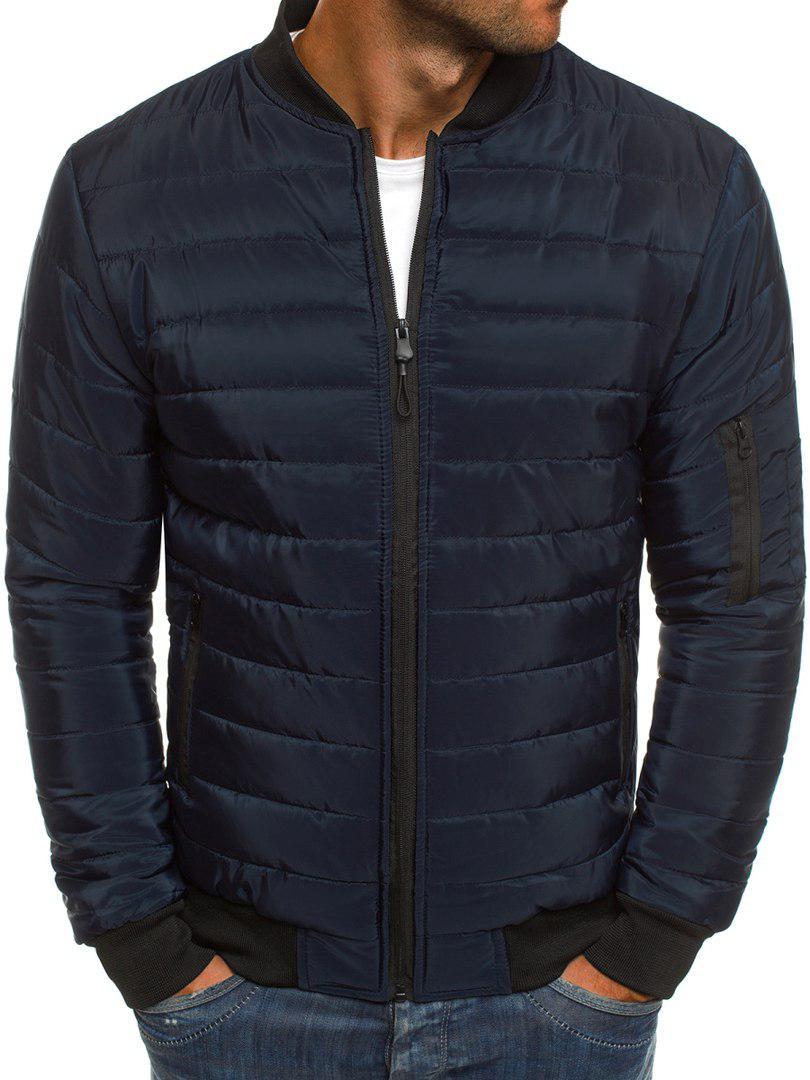 Мужская весенняя куртка стеганая темно-синяя