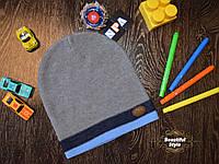 Демисезонная шапка для мальчика со значком Польша голубая полоска, фото 1
