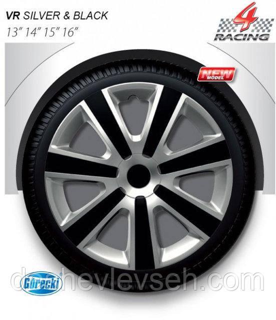 """Колпаки Argo R15 VR silver black (""""карбон"""" спицы), (ARGO)"""