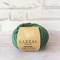 Пряжа Gazzal Organic Baby Cotton зеленый №427 хлопковая для ручного вязания, летняя