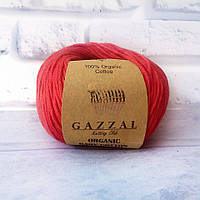 Пряжа Gazzal Organic Baby Cotton красный №432 хлопковая для ручного вязания, летняя