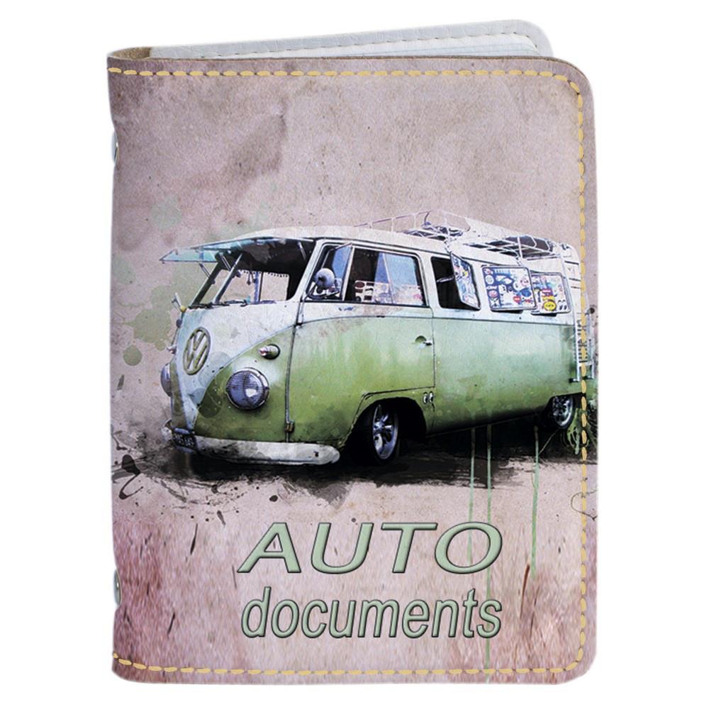 Обложка на автомобильные права Fisher Gifts 13 Wolswagen ретро (эко-кожа)