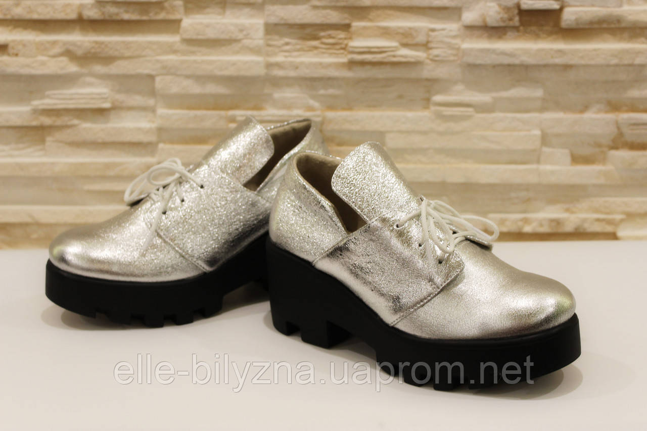 Туфли женские серебристые натуральная кожа Т933 р 39 40