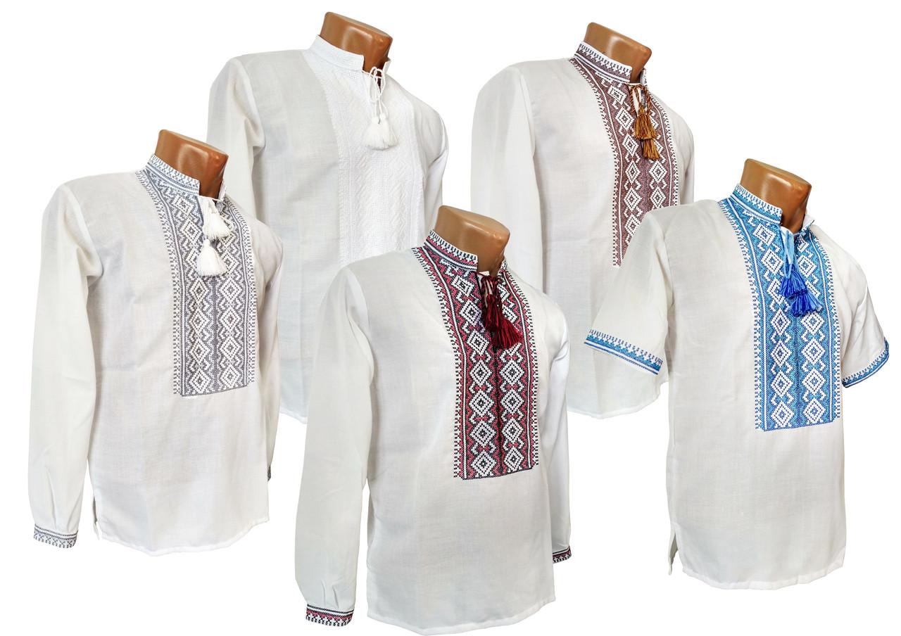 Чоловіча сорочка-вишиванка на довгий рукав в етно стилі