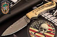 Нож охотничий Damascus New Zealand Red Stag Hunter Skinner (Дамаск, Рог оленя)