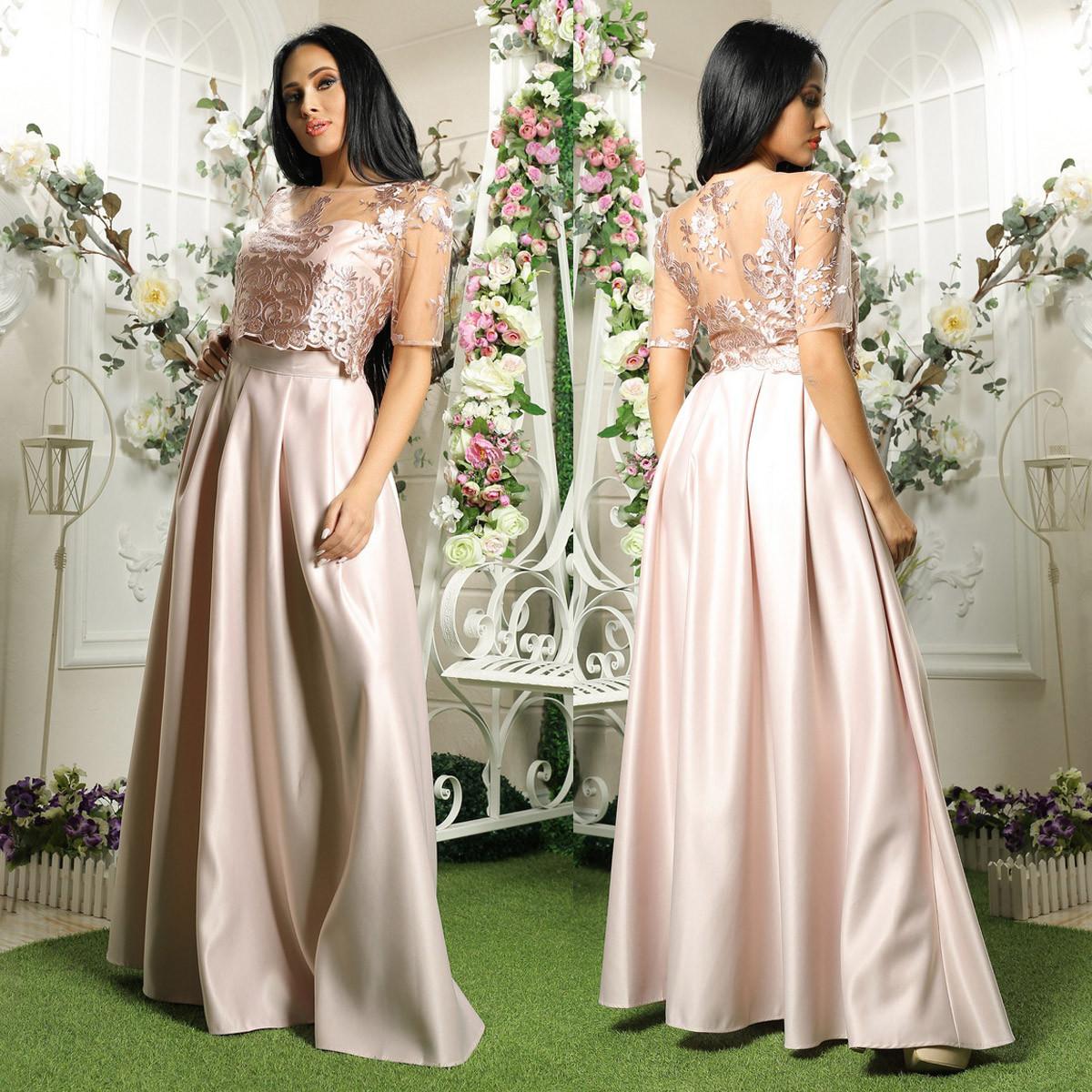 Розовый выпускной нарядный костюм топ+юбка