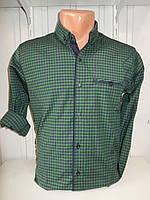 Рубашка мужская CROM клетка мелкая, стрейч, 3 заклепки 004 /купить только оптом
