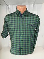 Рубашка мужская CROM клетка, стрейч, 3 заклепки 005 /купить только оптом