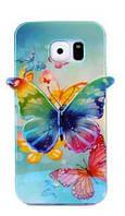 Силиконовый голубой глянцевый чехол-бабочка для Samsung Galaxy S6