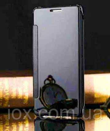 Черный зеркальный хамелеон чехол-книжка для Samsung Galaxy S6