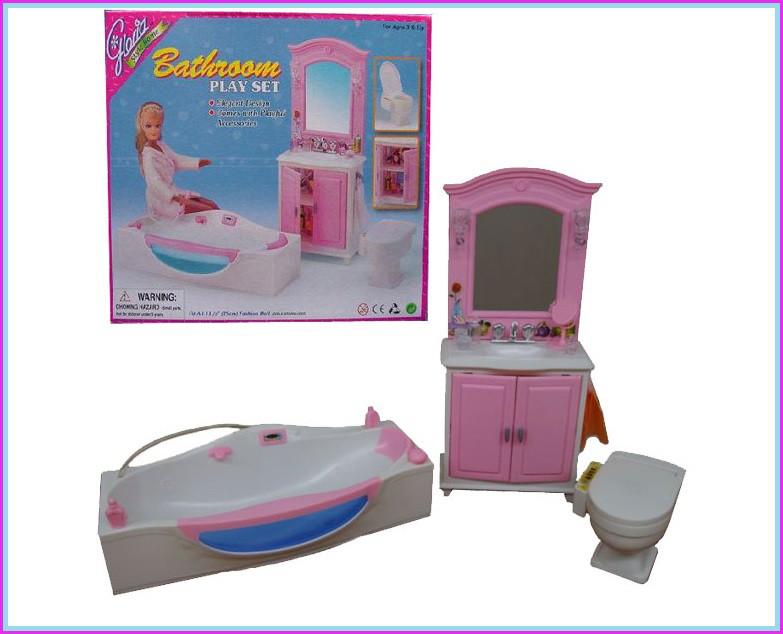 Мебель для кукол Gloria 24020 для ванной туалет,джакузи,аксес, в коробке 30*25*8см