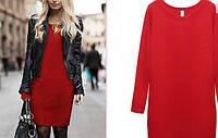 Теплое трикотажное женское платье красное, фото 1