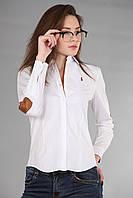 Рубашка женская с длинным рукавом (реплика) Polo ralph lauren белого цвета
