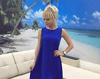Легкое платье, длиннее сзади синее, фото 1