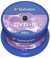 Диск DVD+R 50 Verbatim, 4.7Gb, 16x, Matt Silver, Cake Box (43550)