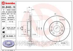 Передний тормозной диск на Duster 1.6i,1.5 dCI K9K 4x2 BREMBO 09.B463.10