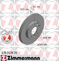 Передний тормозной диск на Duster 1.6i,1.5 dCI K9K 4x2 ZIMMERMANN 470.2439.20