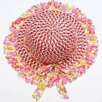 Красивая летняя шляпа для девочки из рисовой соломки, фото 1