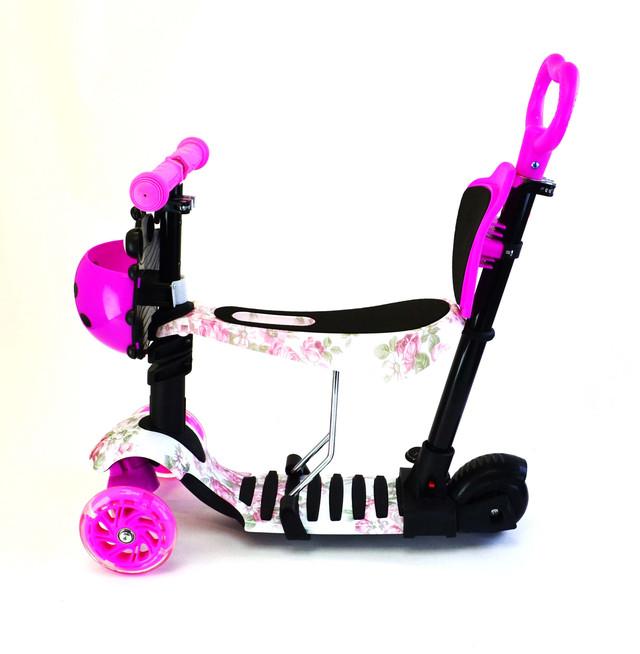 Самокат с сиденьем и родительской ручкой от 4 лет, светящиеся колеса PRINT Роза