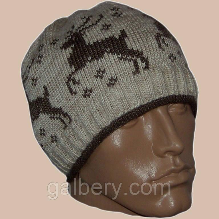 Мужская вязаная зимняя шапка с норвежским орнаментом ...