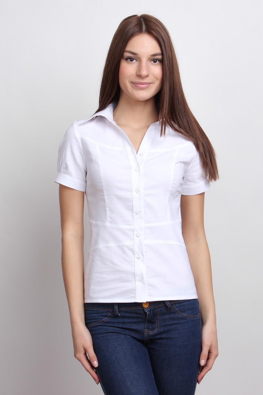 Белая рубашка с коротким рукавом, кокеткой и имитацией пояса Р78