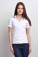 Белая рубашка с коротким рукавом, кокеткой и имитацией пояса Р78, фото 1