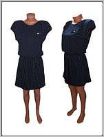 Платье женское горох (темно-синее)