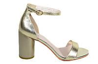 Золотые босоножки на каблуке Molka