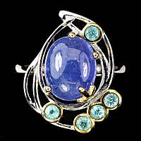 Серебряное кольцо с танзанитом 11 мм * 9 мм и апатитом