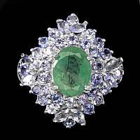 Серебряное кольцо с изумрудом 10 мм * 8 мм и танзанитами