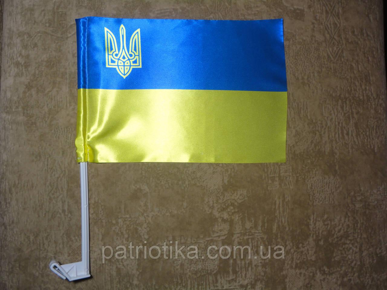 Флаг Украины атлас с тризубом 37х24см   Прапор України атлас з тризубом 37х24см