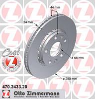 Передний тормозной диск на Duster 1.5 dCI 2.0i 16v ZIMMERMANN 470.2433.20