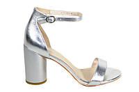 Серебряные босоножки на каблуке Molka