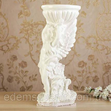 Подставка для цветов Ангел с чашей белый, фото 2