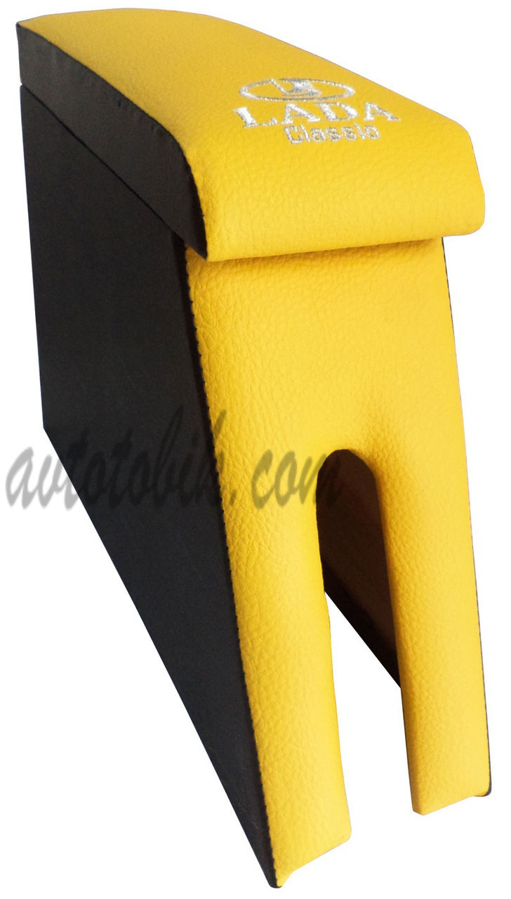 Подлокотник Lada (Лада) ВАЗ 2104, 2105, 2107 цвет желтый с вышивкой