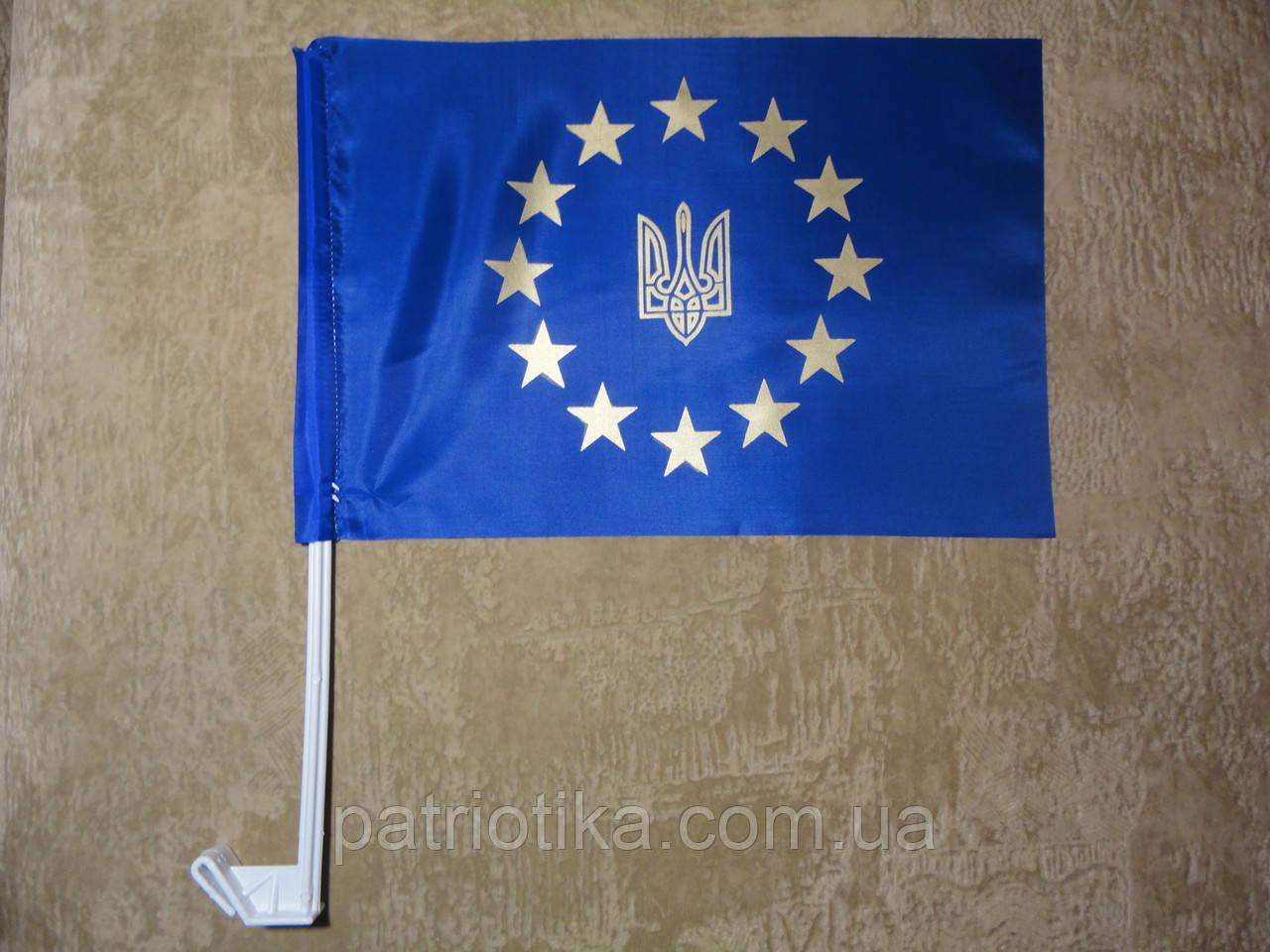 Флаг Украины атлас Украина-Евросоюз 37х24см | Прапор України атлас Україна-Євросоюз 37х24см