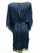 Накидка пляжная 7001 Кисточки темно-синяя на размеры 46-52., фото 3