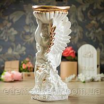 Подставка для цветов Ангел с чашей золото, фото 2