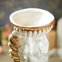 Подставка для цветов Ангел с чашей золото, фото 3