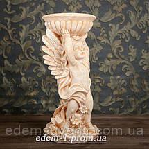 Подставка для цветов Ангел с чашей желтый камень, фото 2