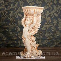 Подставка для цветов Ангел с чашей желтый камень, фото 3