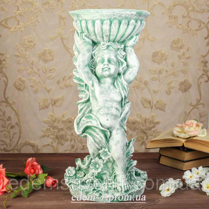 Подставка для цветов Ангел с чашей зеленый камень